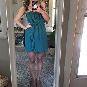 BCBGeneration Emerald Chiffon Asymmetrical Dress